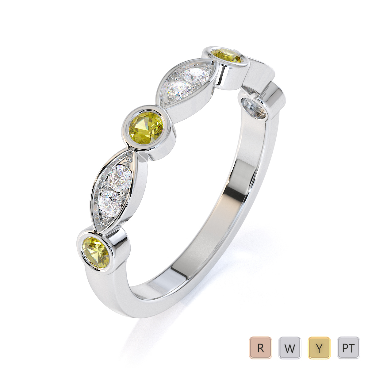 Gold / Platinum Yellow Sapphire and Diamond Half Eternity Ring RZ1511