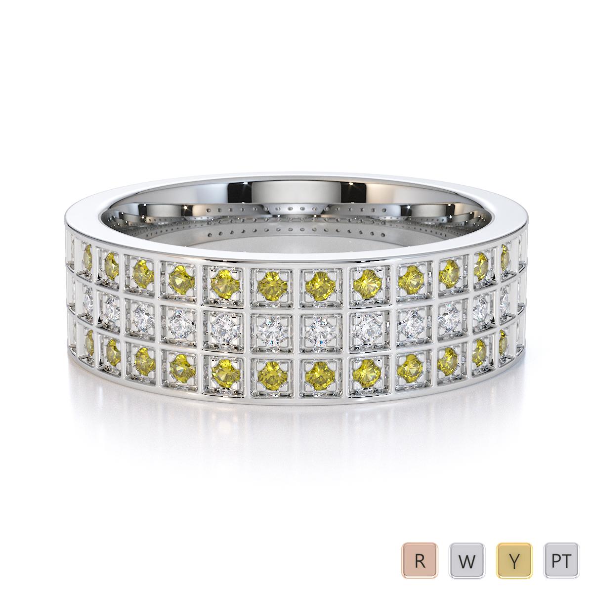 Gold / Platinum Yellow Sapphire and Diamond Half Eternity Ring RZ1513