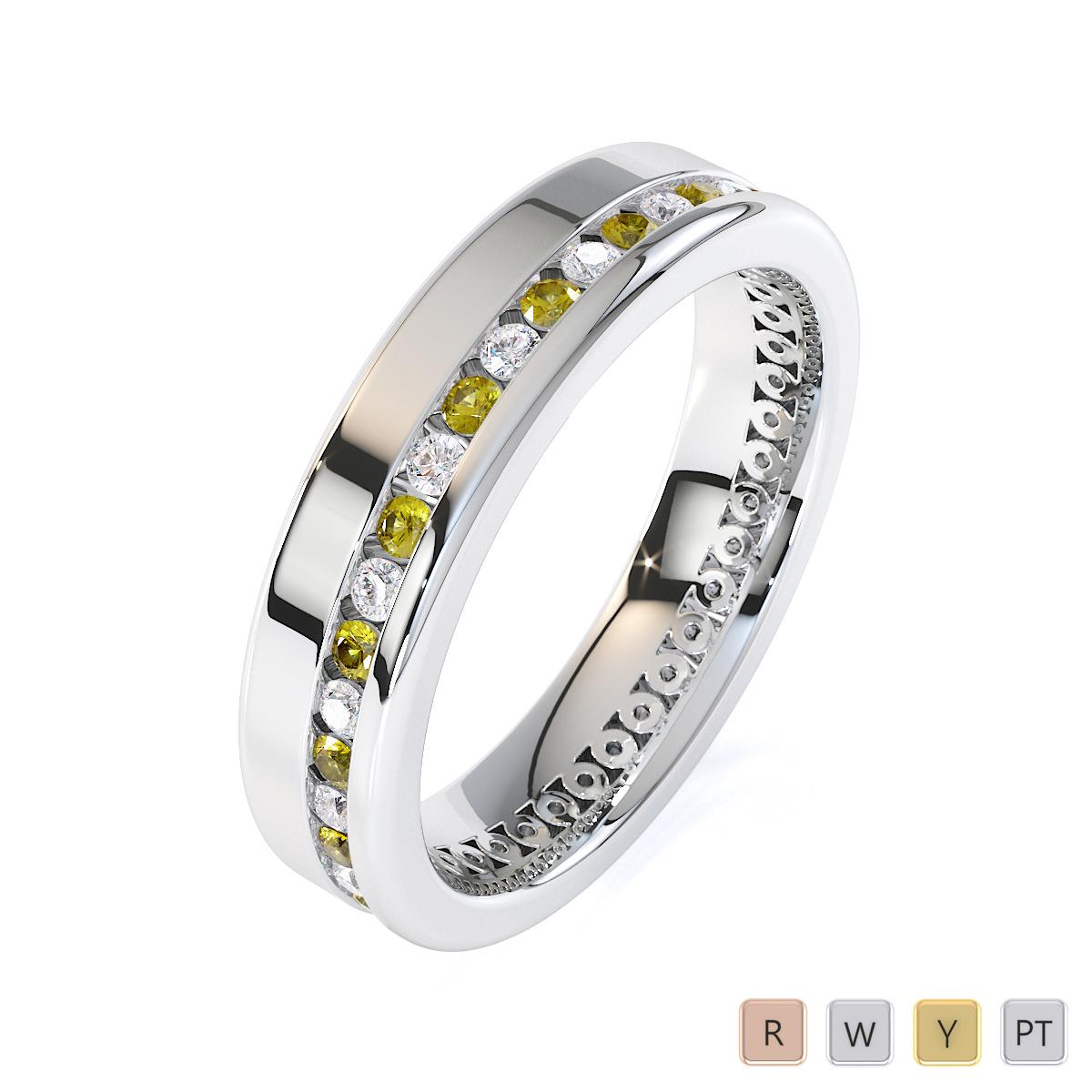 Gold / Platinum Yellow Sapphire and Diamond Full Eternity Ring RZ1514