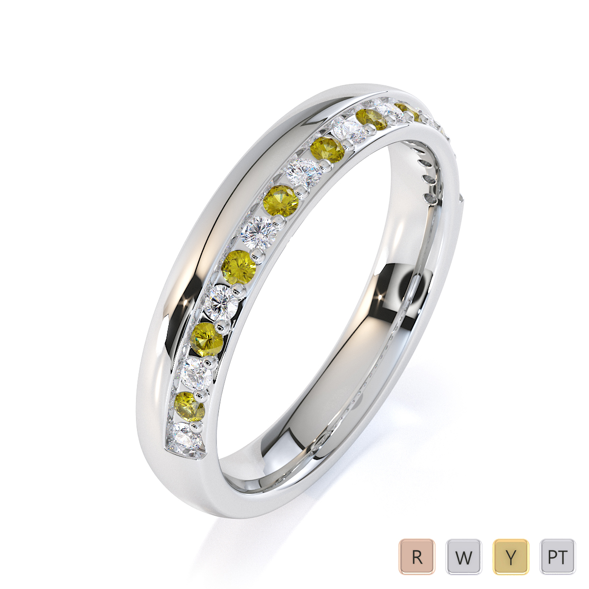 Gold / Platinum Yellow Sapphire and Diamond Half Eternity Ring RZ1517