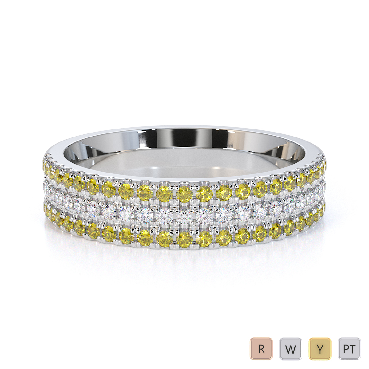 Gold / Platinum Yellow Sapphire and Diamond Half Eternity Ring RZ1519