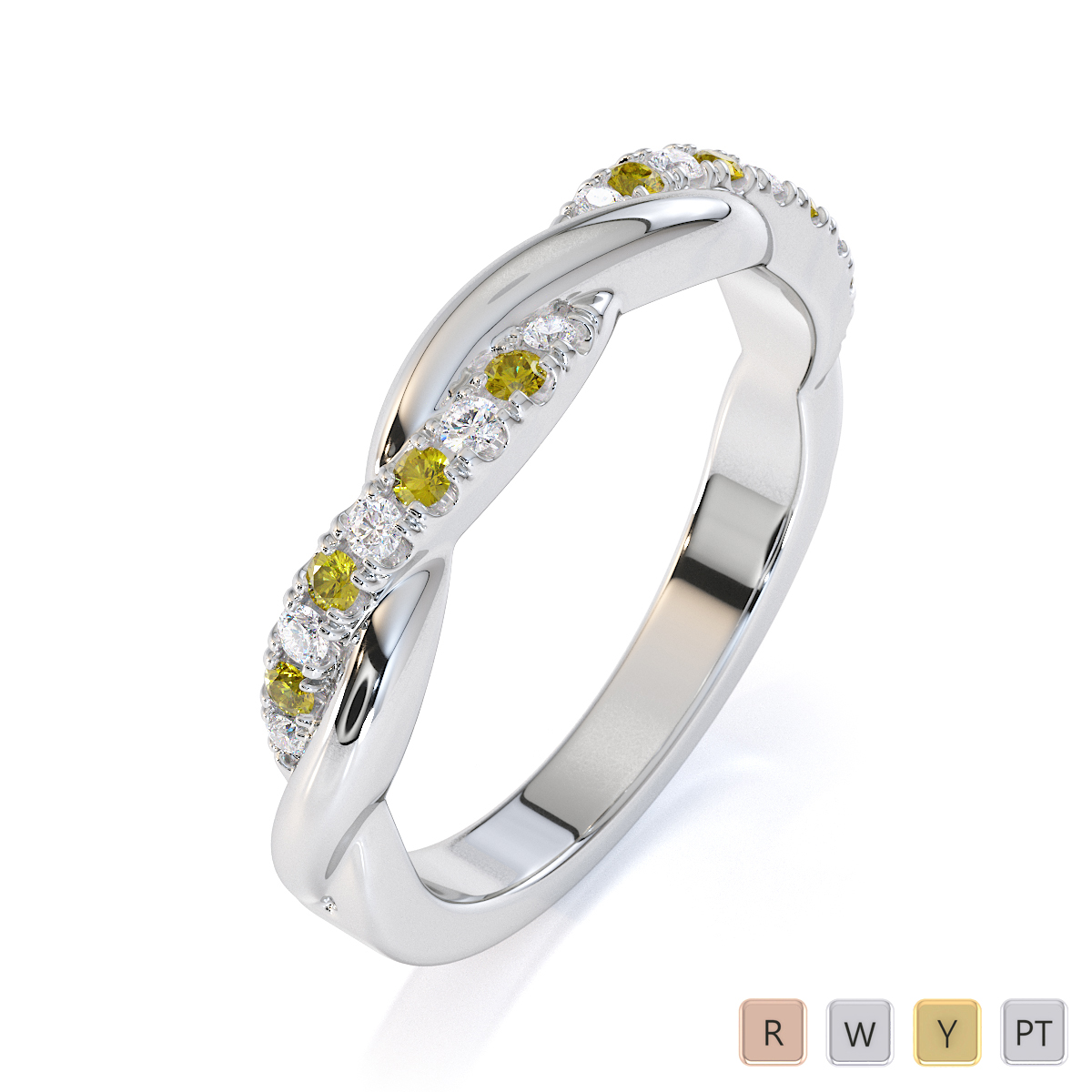 Gold / Platinum Yellow Sapphire and Diamond Half Eternity Ring RZ1523
