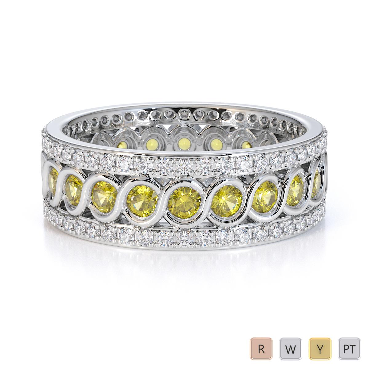 Gold / Platinum Yellow Sapphire and Diamond Full Eternity Ring RZ1524