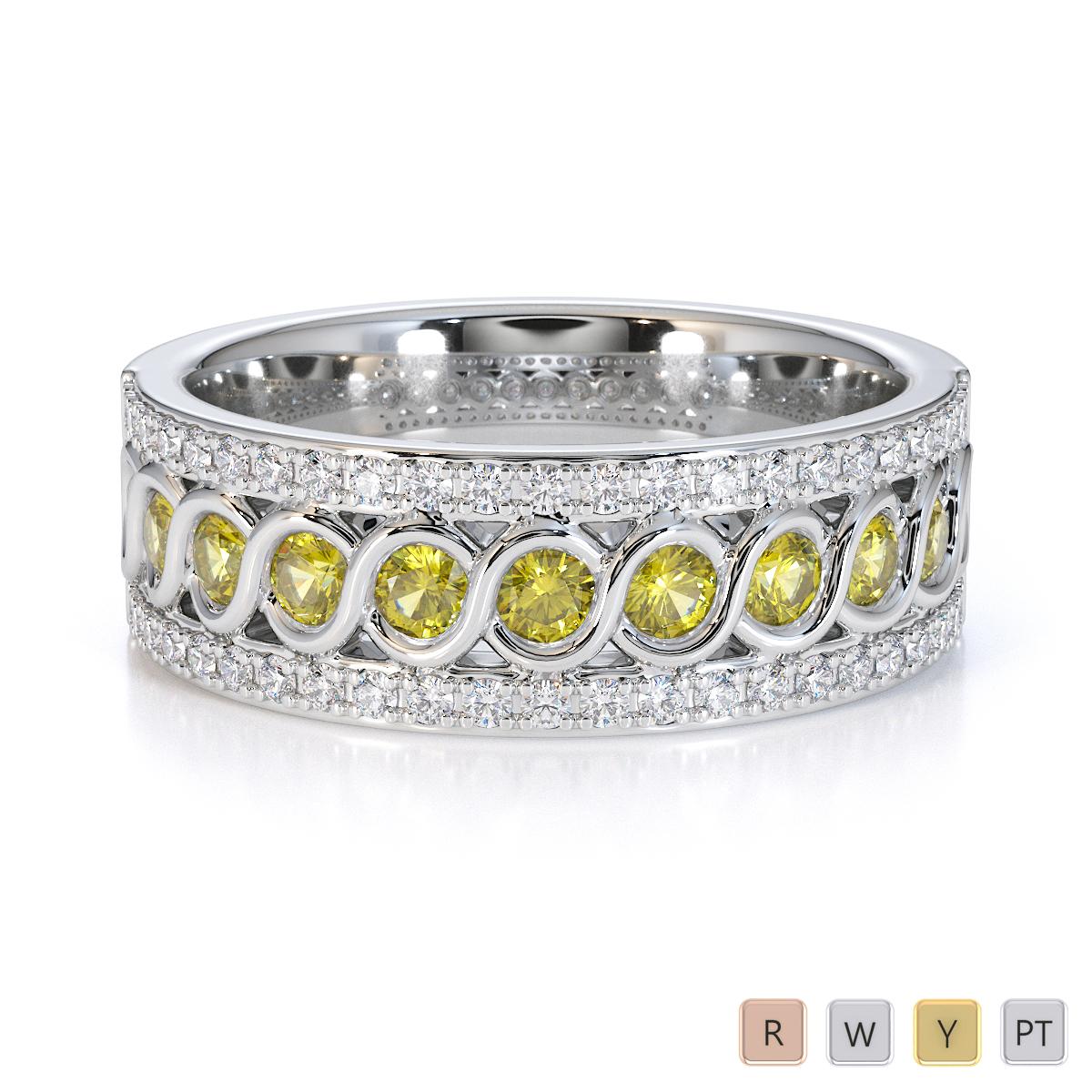 Gold / Platinum Yellow Sapphire and Diamond Half Eternity Ring RZ1525