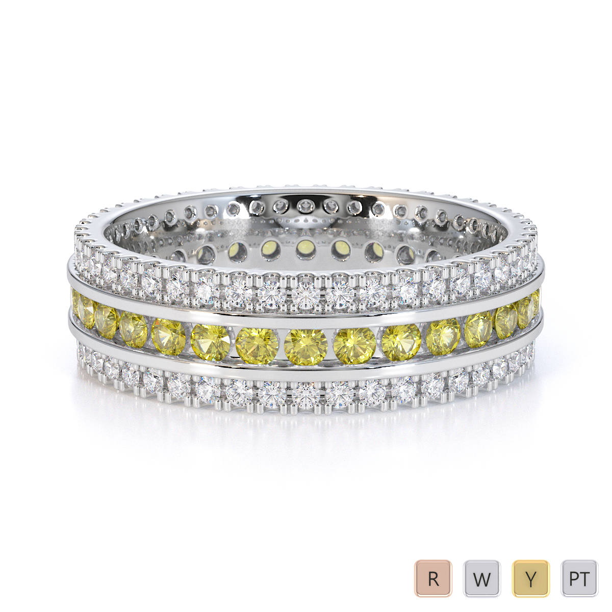 Gold / Platinum Yellow Sapphire and Diamond Full Eternity Ring RZ1526