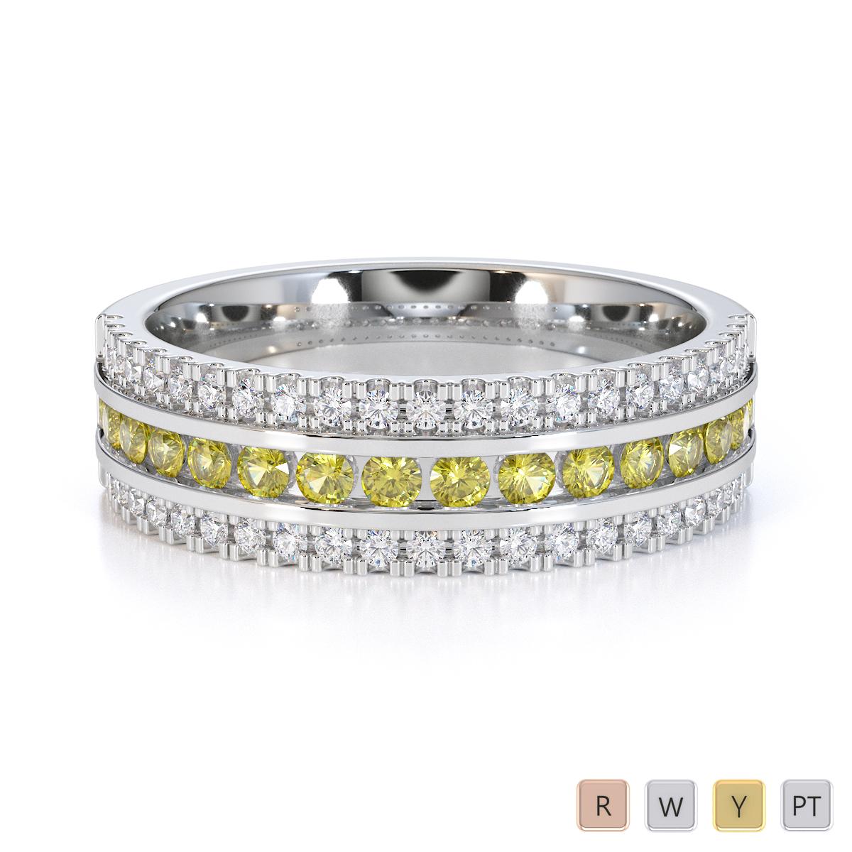 Gold / Platinum Yellow Sapphire and Diamond Half Eternity Ring RZ1527