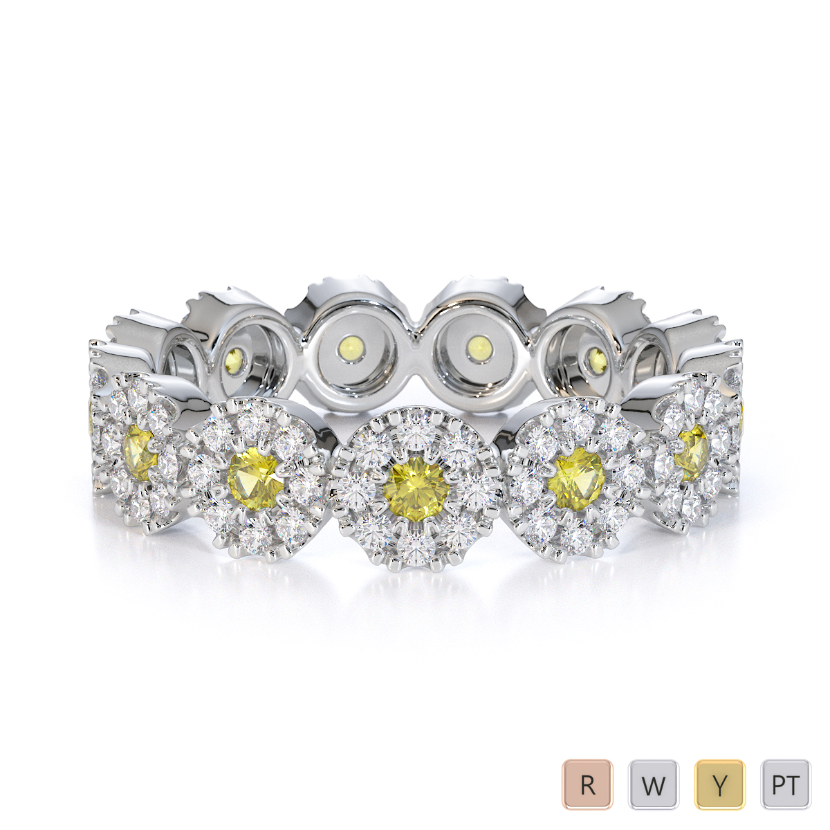 Gold / Platinum Yellow Sapphire and Diamond Full Eternity Ring RZ1530
