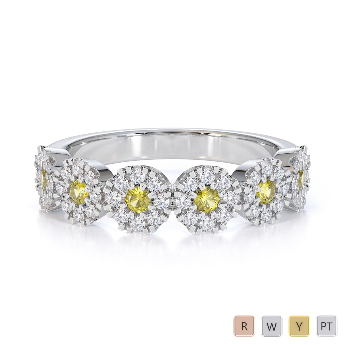 Gold / Platinum Yellow Sapphire and Diamond Half Eternity Ring RZ1531