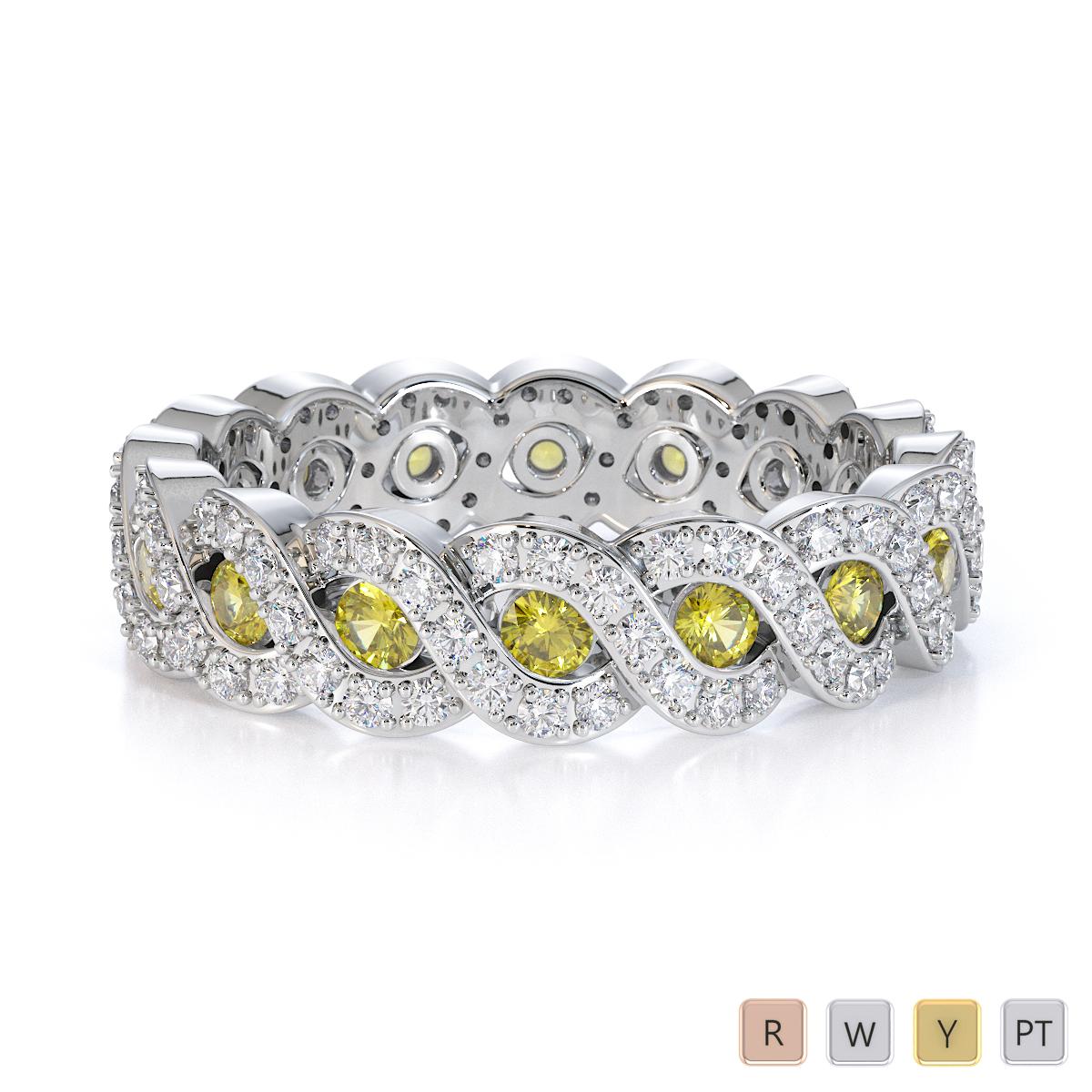 Gold / Platinum Yellow Sapphire and Diamond Full Eternity Ring RZ1532