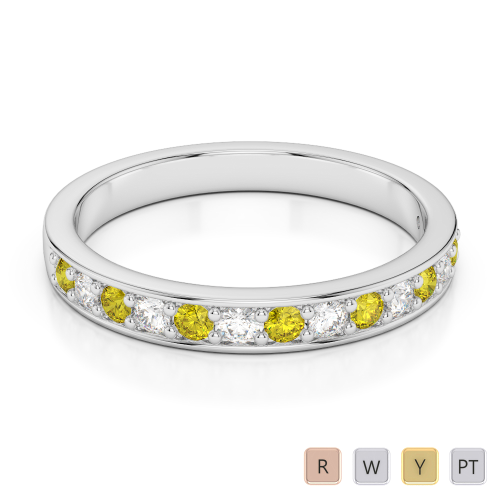 2.5 MM Gold / Platinum Round Cut Yellow Sapphire and Diamond Half Eternity Ring AGDR-1083