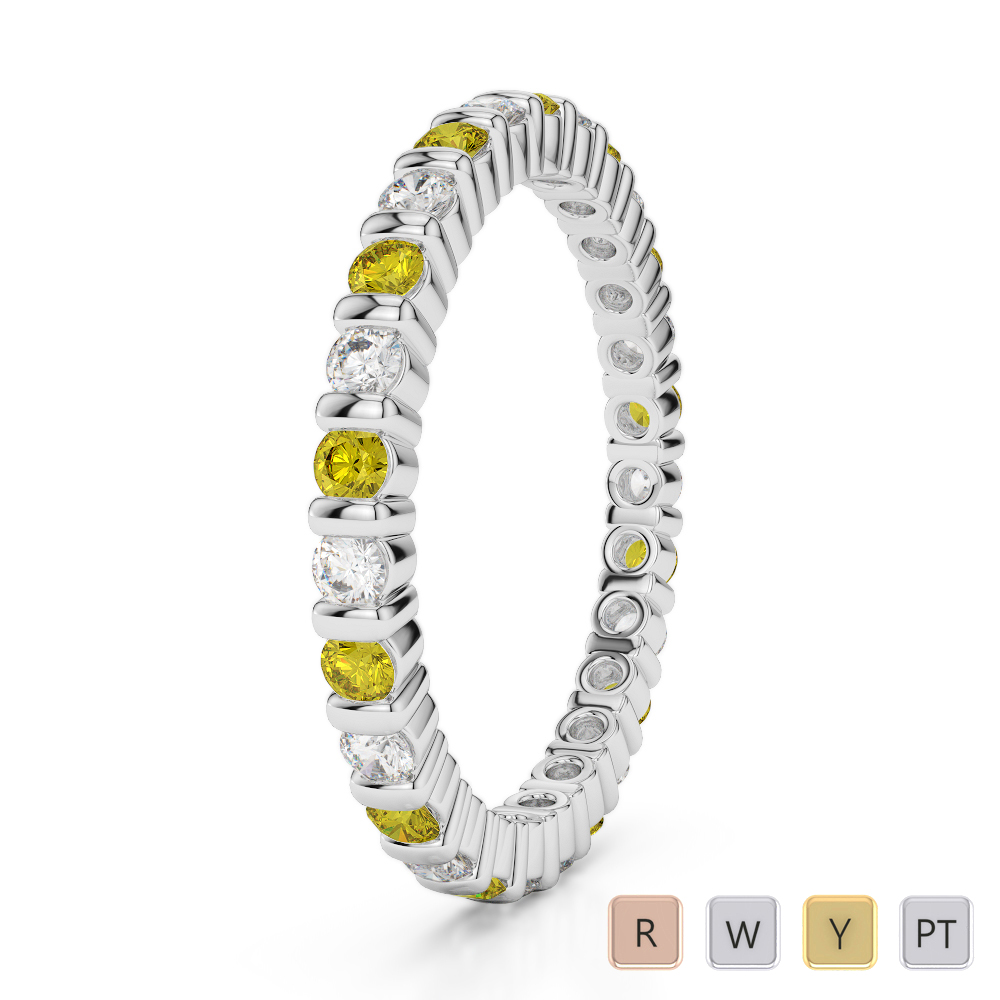 2 MM Gold / Platinum Round Cut Yellow Sapphire and Diamond Full Eternity Ring AGDR-1092