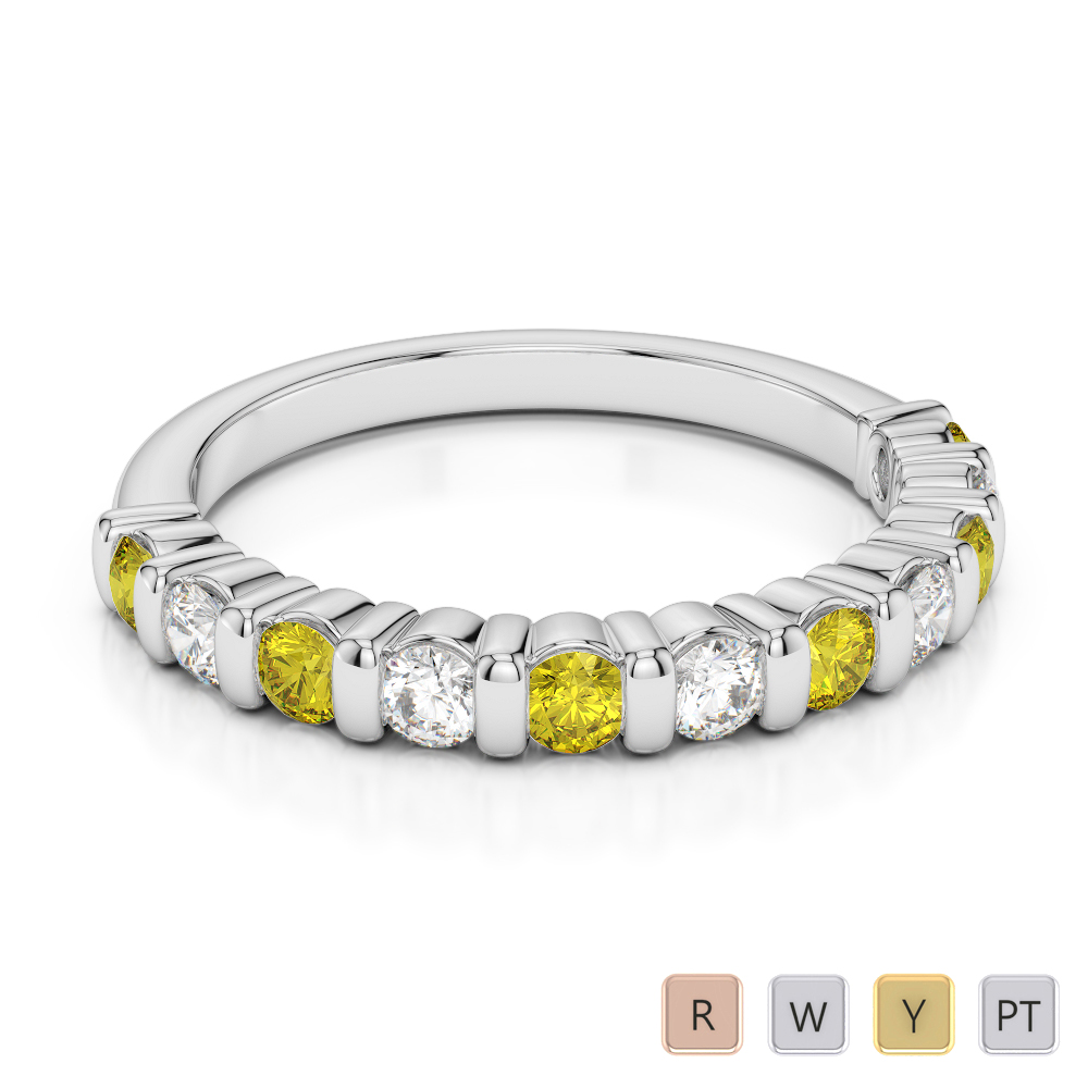 2.5 MM Gold / Platinum Round Cut Yellow Sapphire and Diamond Half Eternity Ring AGDR-1096