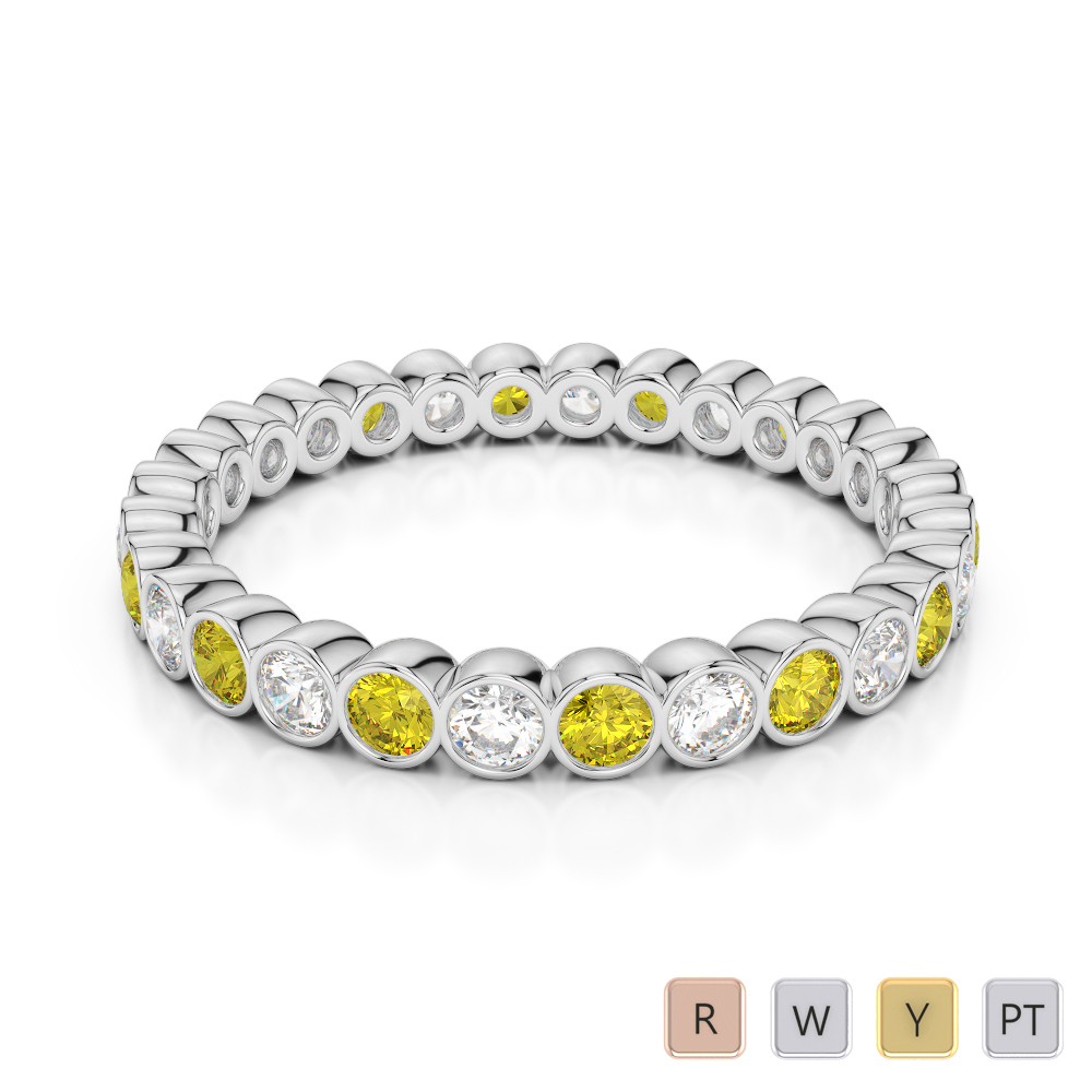 2.5 MM Gold / Platinum Round Cut Yellow Sapphire and Diamond Full Eternity Ring AGDR-1099