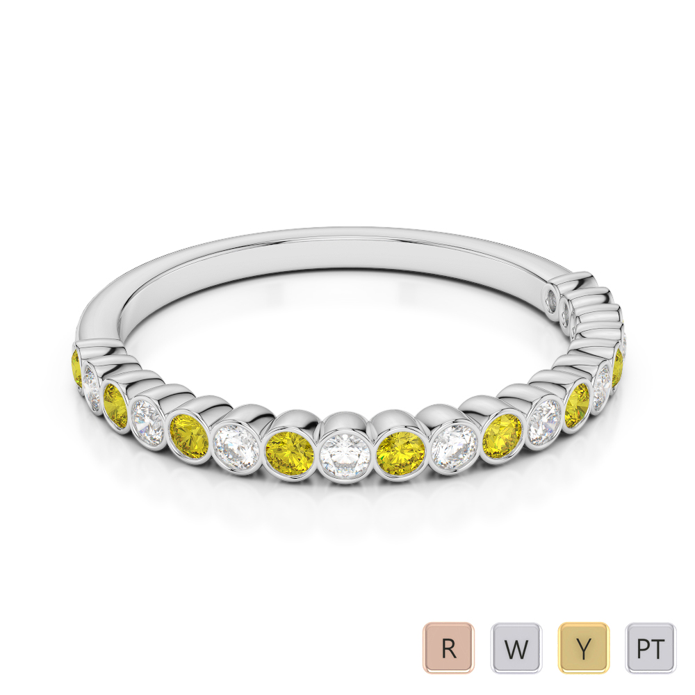 2 MM Gold / Platinum Round Cut Yellow Sapphire and Diamond Half Eternity Ring AGDR-1101