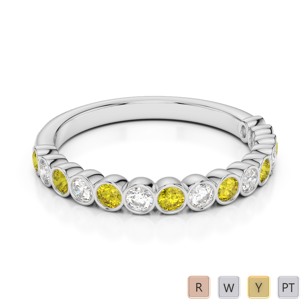 2.5 MM Gold / Platinum Round Cut Yellow Sapphire and Diamond Half Eternity Ring AGDR-1102