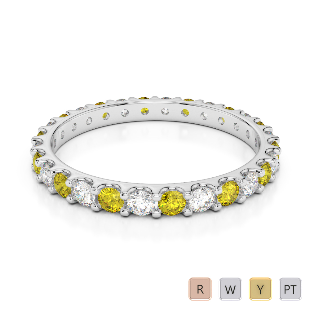 2 MM Gold / Platinum Round Cut Yellow Sapphire and Diamond Full Eternity Ring AGDR-1104