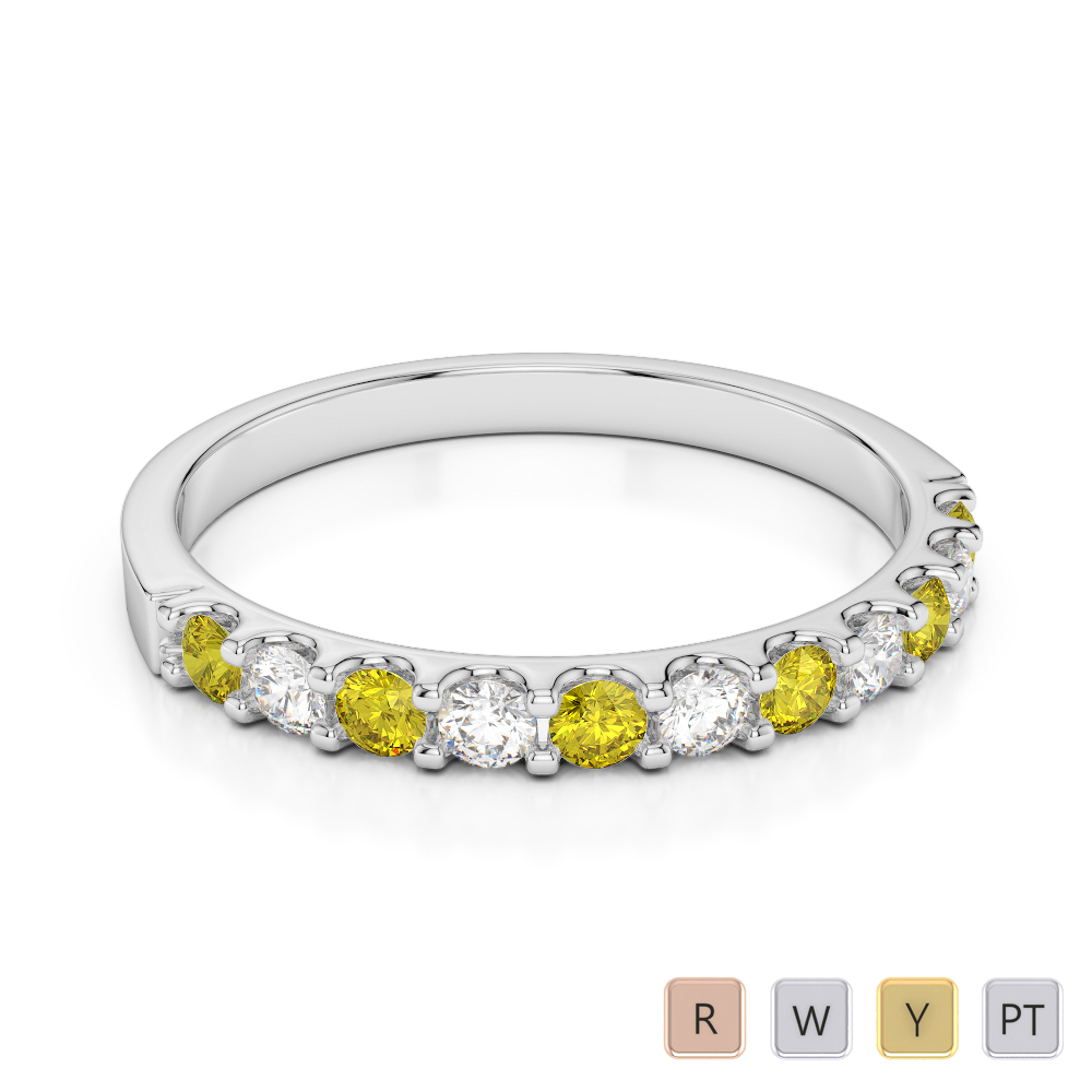 2 MM Gold / Platinum Round Cut Yellow Sapphire and Diamond Half Eternity Ring AGDR-1107