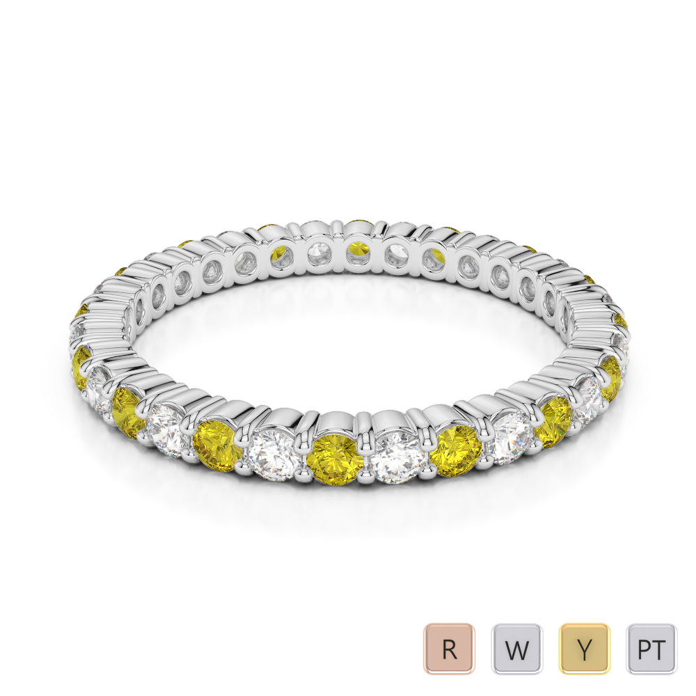 2 MM Gold / Platinum Round Cut Yellow Sapphire and Diamond Full Eternity Ring AGDR-1110