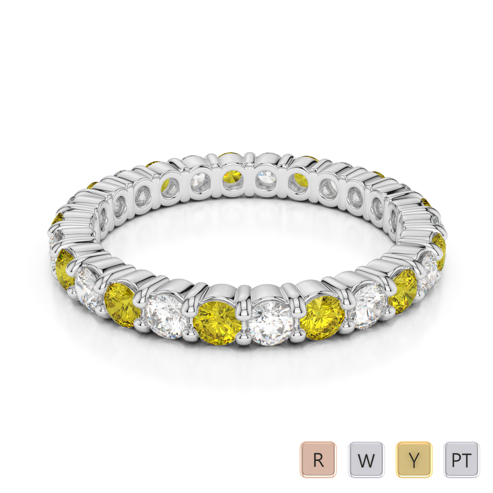 2.5 MM Gold / Platinum Round Cut Yellow Sapphire and Diamond Full Eternity Ring AGDR-1111