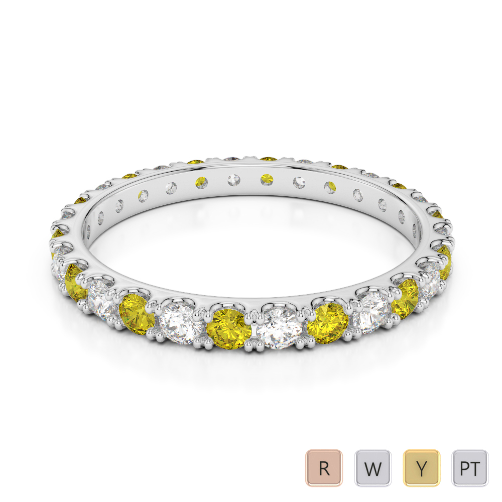 2 MM Gold / Platinum Round Cut Yellow Sapphire and Diamond Full Eternity Ring AGDR-1120