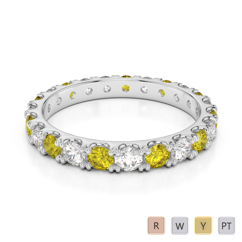 2.5 MM Gold / Platinum Round Cut Yellow Sapphire and Diamond Full Eternity Ring AGDR-1121