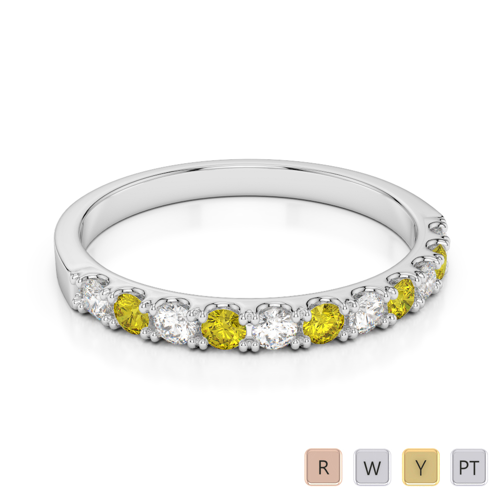 2 MM Gold / Platinum Round Cut Yellow Sapphire and Diamond Half Eternity Ring AGDR-1123
