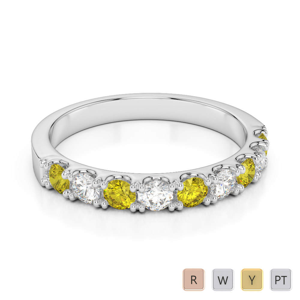 2.5 MM Gold / Platinum Round Cut Yellow Sapphire and Diamond Half Eternity Ring AGDR-1124