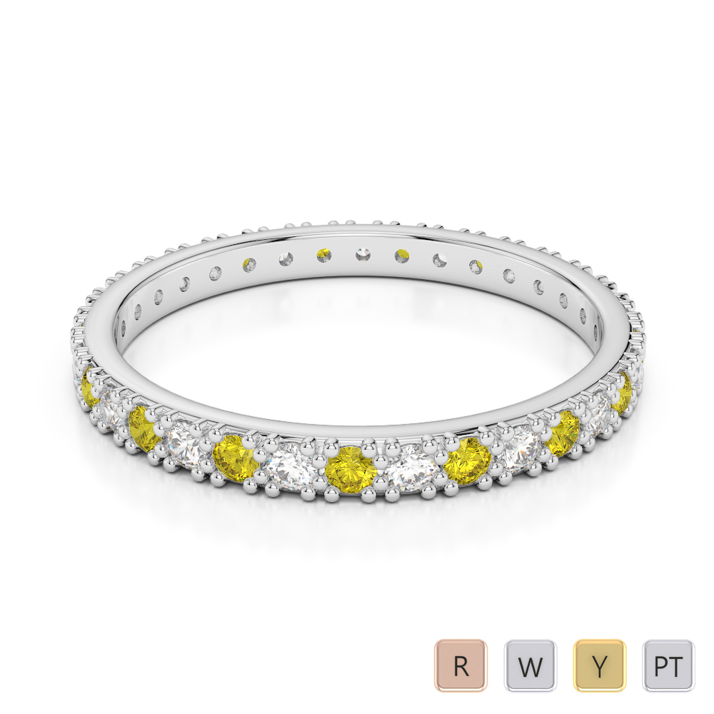 2 MM Gold / Platinum Round Cut Yellow Sapphire and Diamond Full Eternity Ring AGDR-1126