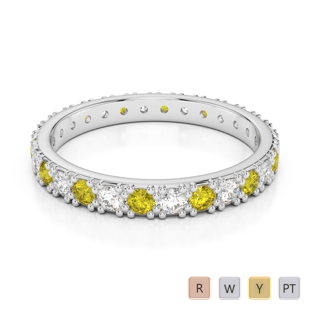 2.5 MM Gold / Platinum Round Cut Yellow Sapphire and Diamond Full Eternity Ring AGDR-1127