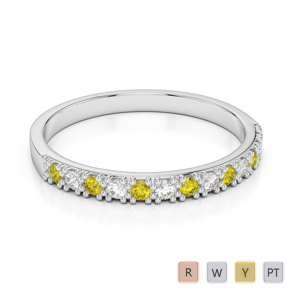 2.5 MM Gold / Platinum Round Cut Yellow Sapphire and Diamond Half Eternity Ring AGDR-1129