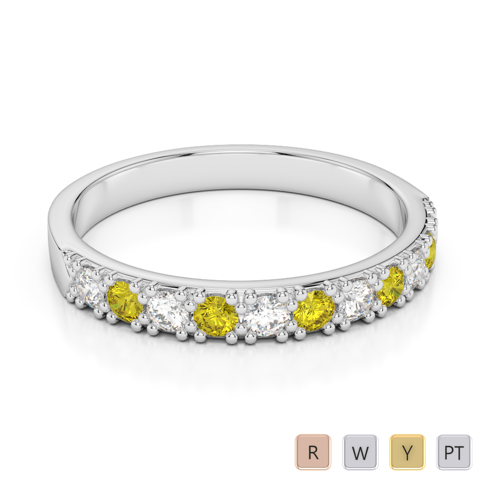 3 MM Gold / Platinum Round Cut Yellow Sapphire and Diamond Half Eternity Ring AGDR-1130