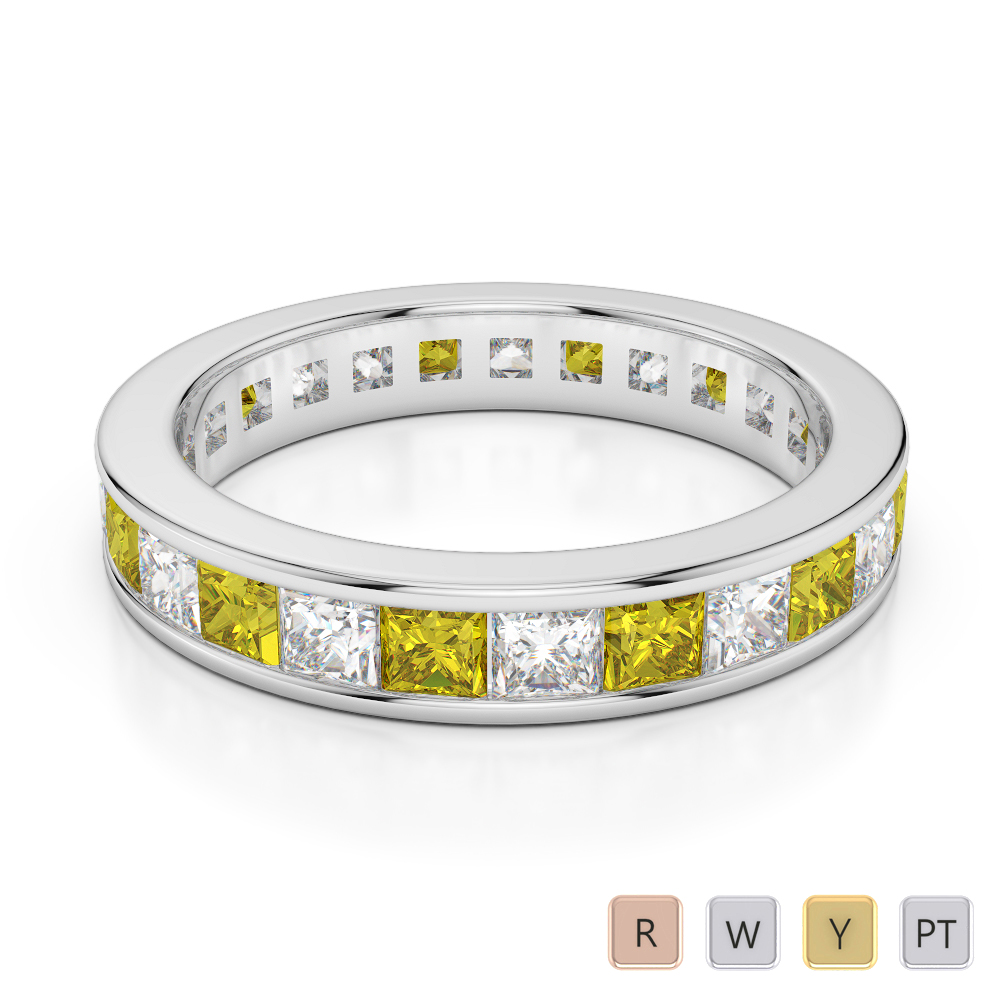 4 MM Gold / Platinum Princess Cut Yellow Sapphire and Diamond Full Eternity Ring AGDR-1134