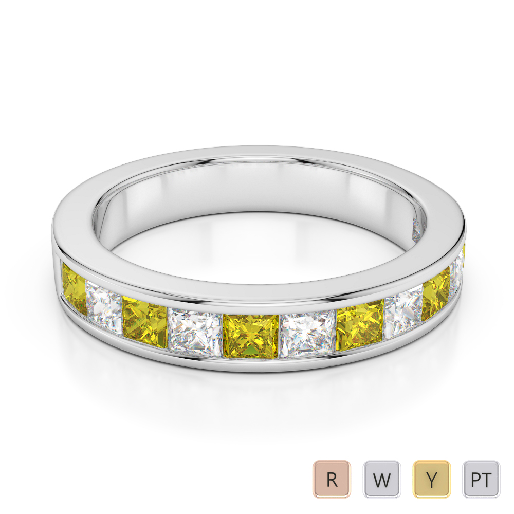 4 MM Gold / Platinum Princess Cut Yellow Sapphire and Diamond Half Eternity Ring AGDR-1137
