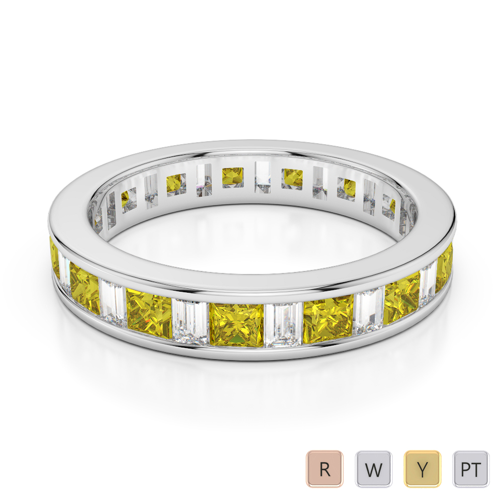 4 MM Gold / Platinum Princess and Baguette Cut Yellow Sapphire and Diamond Full Eternity Ring AGDR-1141