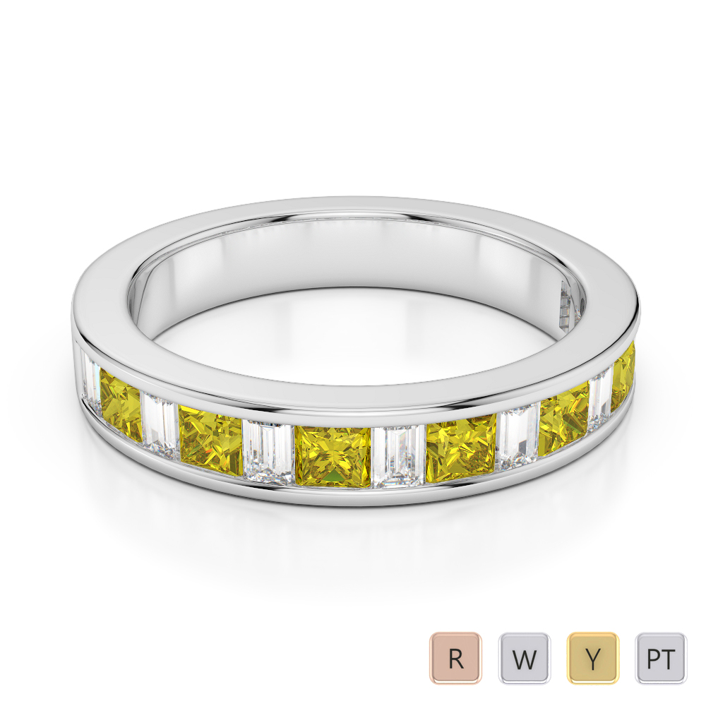 4 MM Gold / Platinum Princess and Baguette Cut Yellow Sapphire and Diamond Half Eternity Ring AGDR-1143