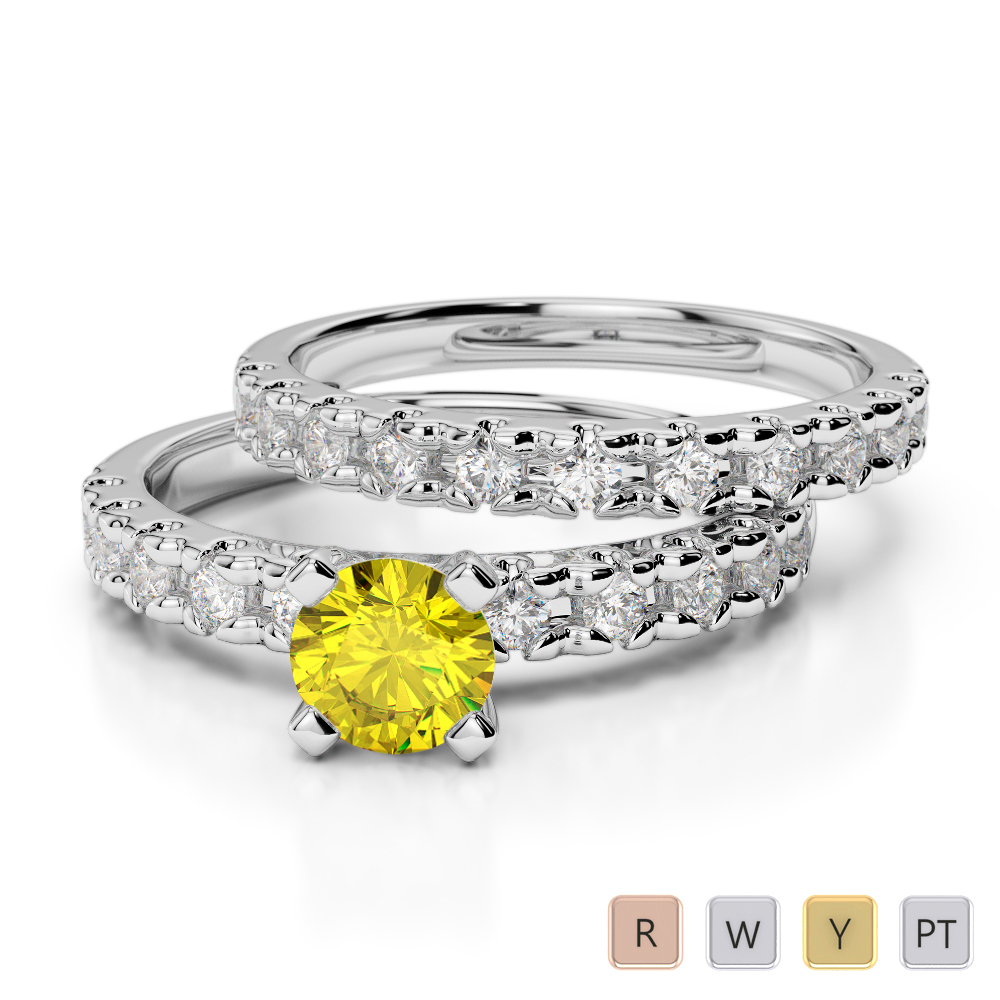 Gold / Platinum Round cut Yellow Sapphire and Diamond Bridal Set Ring AGDR-1144