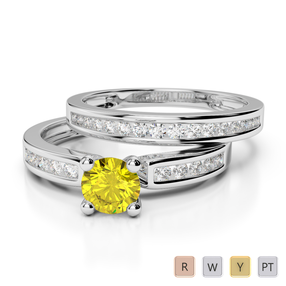Gold / Platinum Round cut Yellow Sapphire and Diamond Bridal Set Ring AGDR-1157