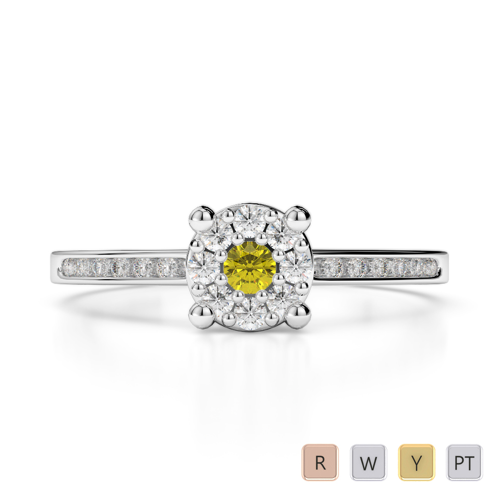Gold / Platinum Round Cut Yellow Sapphire and Diamond Engagement Ring AGDR-1163
