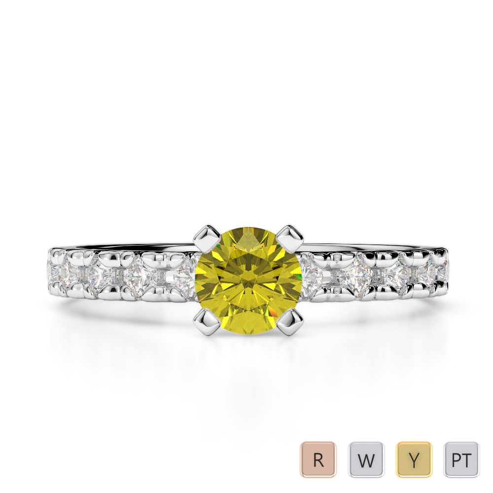 Gold / Platinum Round Cut Yellow Sapphire and Diamond Engagement Ring AGDR-1171