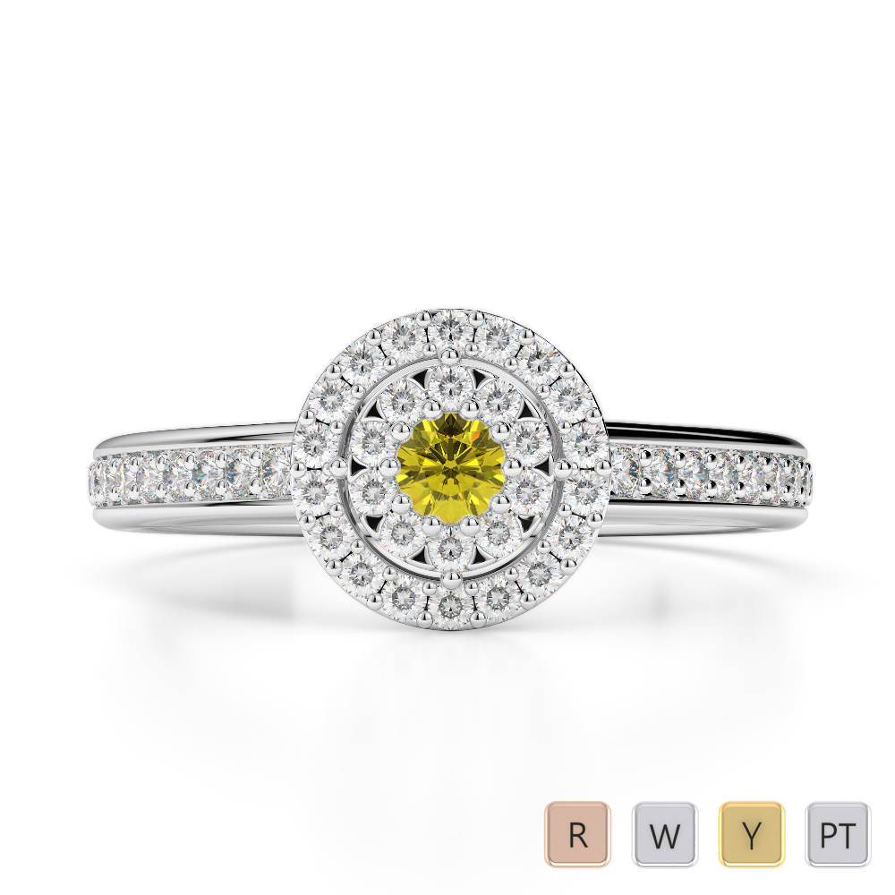 Gold / Platinum Round Cut Yellow Sapphire and Diamond Engagement Ring AGDR-1188