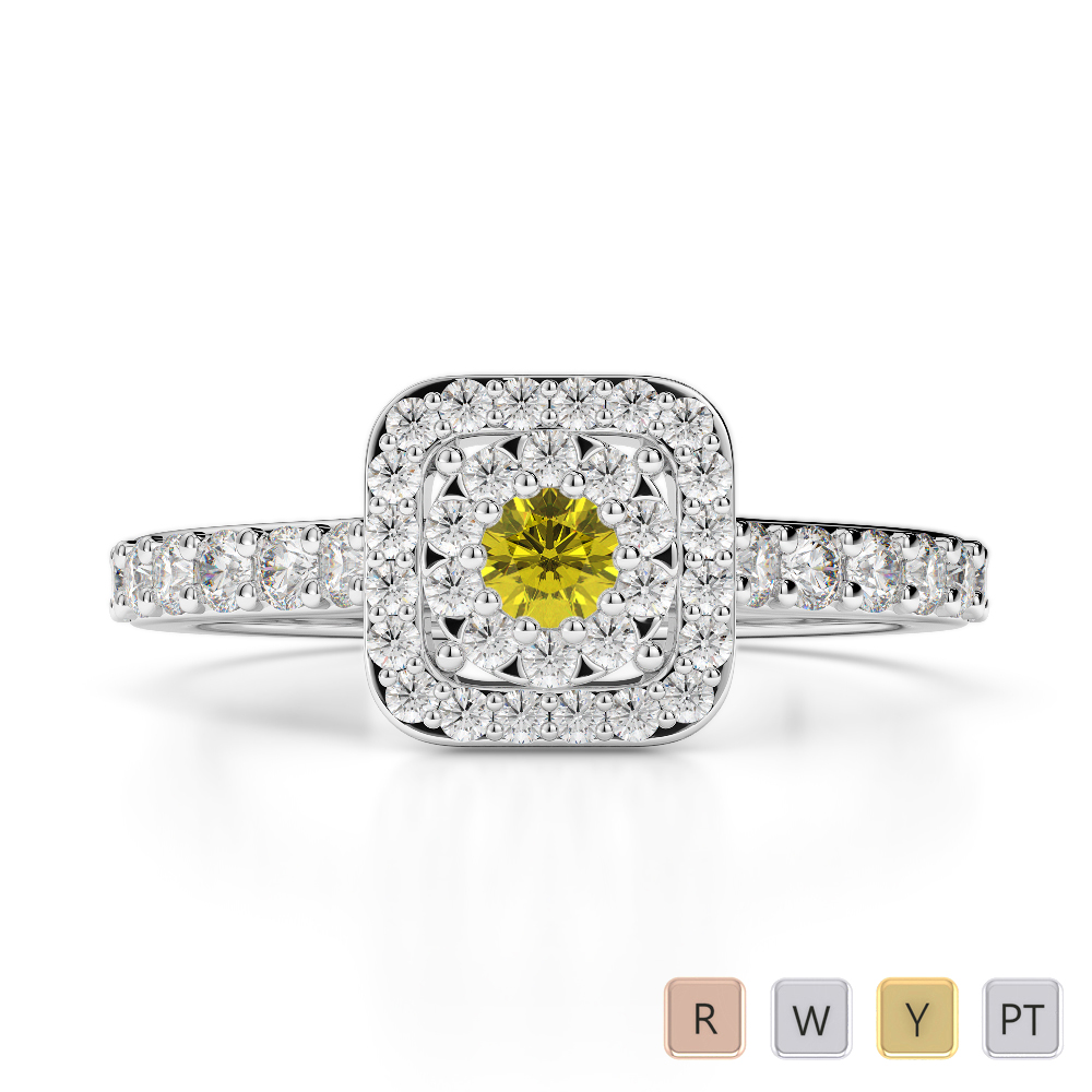 Gold / Platinum Round Cut Yellow Sapphire and Diamond Engagement Ring AGDR-1189