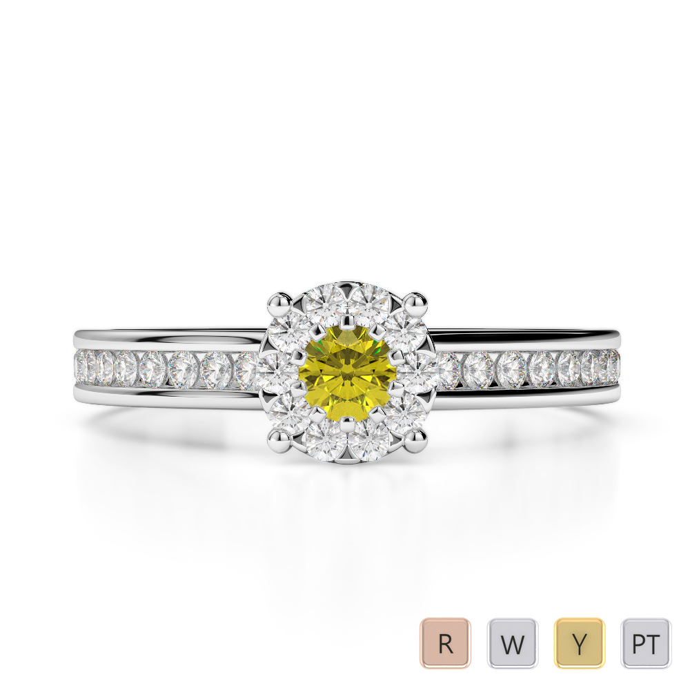 Gold / Platinum Round Cut Yellow Sapphire and Diamond Engagement Ring AGDR-1190