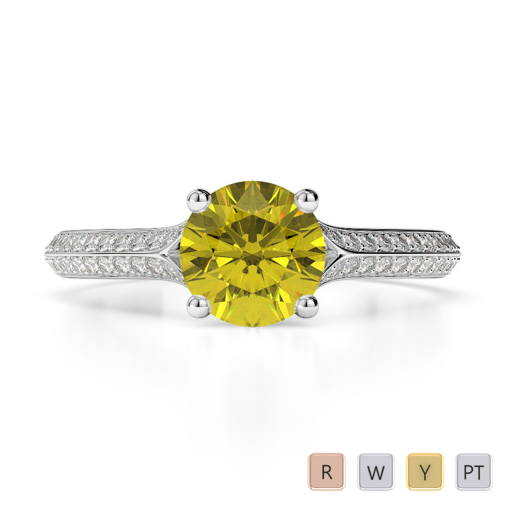 Gold / Platinum Round Cut Yellow Sapphire and Diamond Engagement Ring AGDR-1200