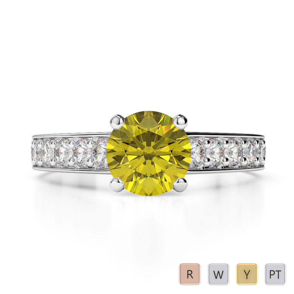Gold / Platinum Round Cut Yellow Sapphire and Diamond Engagement Ring AGDR-1202