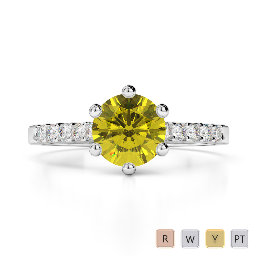 Gold / Platinum Round Cut Yellow Sapphire and Diamond Engagement Ring AGDR-1208
