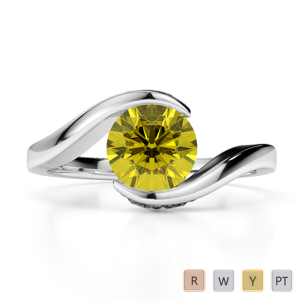 Gold / Platinum Round Cut Yellow Sapphire and Diamond Engagement Ring AGDR-1209