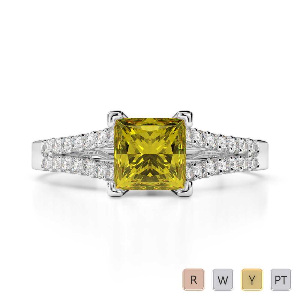 Gold / Platinum Round and Princess Cut Yellow Sapphire and Diamond Engagement Ring AGDR-1211