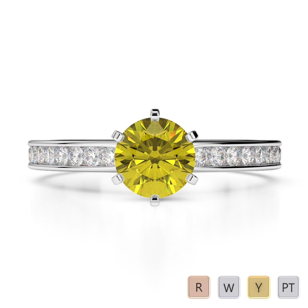 Gold / Platinum Round Cut Yellow Sapphire and Diamond Engagement Ring AGDR-1214