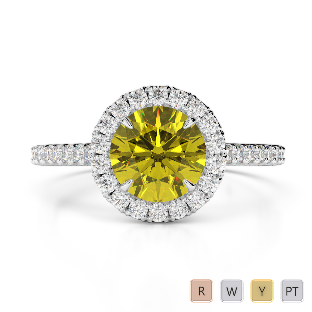Gold / Platinum Round Cut Yellow Sapphire and Diamond Engagement Ring AGDR-1215