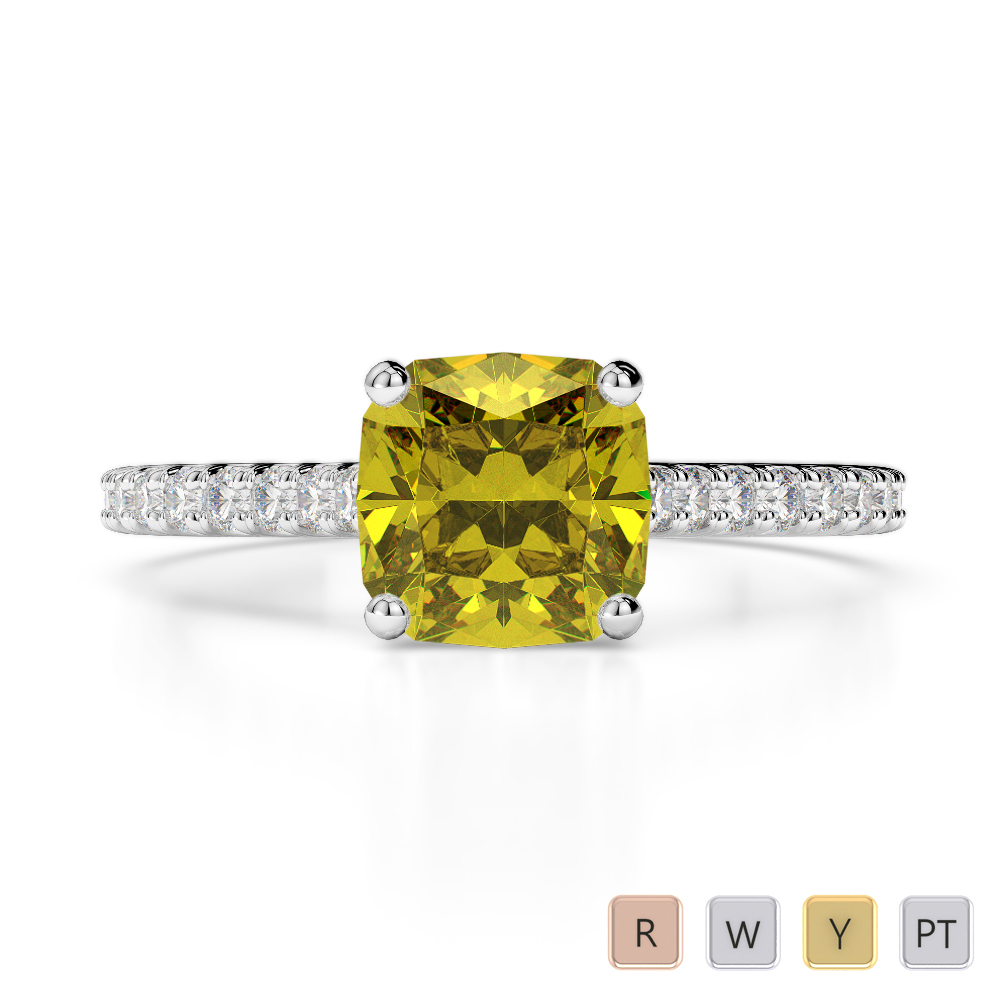 Gold / Platinum Round and Cushion Cut Yellow Sapphire and Diamond Engagement Ring AGDR-1216